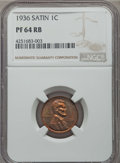 Proof Lincoln Cents, 1936 1C Type One -- Satin Finish PR64 Red and Brown NGC. NGC Census: (41/36). PCGS Population (93/40). Mintage: 5,569. ...