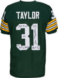 Football Collectibles:Uniforms, Jim Taylor Signed and Stat Inscribed Green Bay Packers Jersey - Numbered at 6/10....
