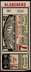 Baseball Collectibles:Tickets, 1940 World Series Game 7 Ticket Stub....