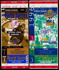 Baseball Collectibles:Tickets, 1995 and 1996 World Series Ticket Stubs Lot of 2....