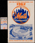 Baseball Collectibles:Tickets, 1962 New York Mets Program & Ticket Stub. ...