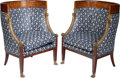 Furniture : French, A Pair of French Empire Upholstered Mahogany and Marquetry Chairs,circa 1810. 37 h x 26 w x 24 d inches (94.0 x 66.0 x 61.0...(Total: 2 Items)