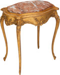 Furniture : French, A Louis XV-Style Giltwood Side Table with Rouge Marble Top, circa 1900. 84 h x 34 w x 15-3/4 d inches (213.4 x 86.4 x 40.0 c...