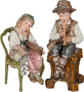 Ceramics & Porcelain, A Pair of French Majolica Sitting Figures with Associated Seats, early 20th century. 37 inches high (94.0 cm) (boy with stoo... (Total: 2 Items)