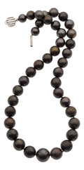 Estate Jewelry:Necklaces, Black South Sea Cultured Pearl, White Gold Necklace. . ...