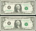 Error Notes:Skewed Reverse Printing, Fr. 1909-B $1 1977 Federal Reserve Notes. Two Consecutive Examples. Choice Crisp Uncirculated.. ... (Total: 2 notes)
