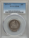 Seated Quarters: , 1875-CC 25C XF40 PCGS. PCGS Population (18/47). NGC Census: (1/36). Mintage: 140,000. CDN Wsl. Price for problem free NGC/P...