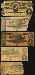 Confederate Notes:Group Lots, Confederate Notes Low Grade.. ... (Total: 5 notes)