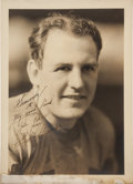 Football Collectibles:Photos, 1930's Red Grange Signed Original George Burke Photograph to Joe Carr from The Joe Carr Collection....