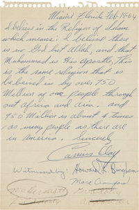 1964 Cassius Clay (Muhammad Ali) Handwritten Letter with First Confirmation of Conversion to Islam