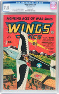 Golden Age (1938-1955):War, Wings Comics #38 (Fiction House, 1943) CGC VF- 7.5 Off-whitepages....