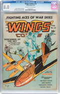 Golden Age (1938-1955):War, Wings Comics #18 (Fiction House, 1942) CGC VF 8.0 Off-white towhite pages....