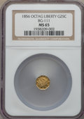 California Fractional Gold , 1856 25C Liberty Octagonal 25 Cents, BG-111, R.3, MS65 NGC. NGCCensus: (10/2). PCGS Population (9/3). ...
