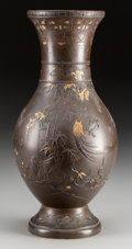 Asian:Japanese, A Japanese Patinated Bronze and Mixed Metals Vase, Meiji Period.Marks: (three-character mark). 13-3/4 inches high (34.9 cm)...