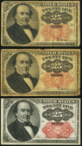 Fractional Currency:Fifth Issue, 25¢ Fifth Issue Notes.. ... (Total: 3 notes)