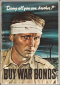 "Movie Posters:War, World War II Propaganda (U.S. Government Printing Office, 1943).War Bonds Poster (22"" X 28"") ""Doing All You Can, Brother?"" ..."