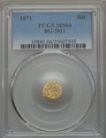 California Fractional Gold , 1871 50C Liberty Round 50 Cents, BG-1011, R.2, MS66 PCGS. PCGSPopulation (14/3). NGC Census: (10/5). ...