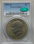 Eisenhower Dollars, 1971-D $1 MS66+ PCGS. CAC. PCGS Population (1077/28 and 29/0+). NGC Census: (649/44 and 2/0+). Mintage: 68,587,424....