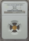 California Fractional Gold , Undated 25C Liberty Round 25 Cents, BG-221, R.3, MS63 NGC. NGCCensus: (11/7). PCGS Population (56/46). ...
