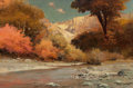 Fine Art - Painting, American:Modern  (1900 1949)  , Robert William Wood (American, 1889-1979). Colorful Canyon, OakCreek, Sedona, Arizona, 1971. Oil on canvas. 24 x 36 inc...