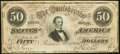 Confederate Notes, T66 $50 1864 PF-2 Cr. 496.. ...