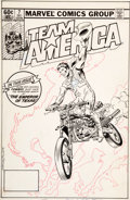 Original Comic Art:Covers, Ed Hannigan and Al Milgrom Team America #7 Cover OriginalArt (Marvel, 1982)....