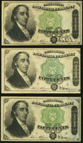 Fractional Currency:Fourth Issue, Fr. 1379 50¢ Fourth Issue Dexter Three Examples Very Fine-Extremely Fine or Better.. ... (Total: 3 notes)