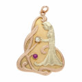 Estate Jewelry:Pendants and Lockets, Art Nouveau Diamond, Ruby, Gold Pendant. ...