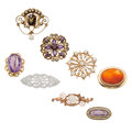 Estate Jewelry:Brooches - Pins, Multi-Stone, Diamond, Cultured Pearl, Gold Jewelry. ... (Total: 8Items)