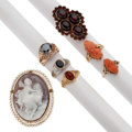 Estate Jewelry:Rings, Multi-Stone, Shell Cameo, Platinum, Gold, Base Metal Jewelry. . ... (Total: 6 Items)