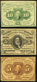 Fractional Currency:First Issue, 5¢ and 10¢ Fractionals Very Good-Fine or Better.. ... (Total: 3 notes)
