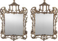 Decorative Arts, Continental, A Pair of Chippendale-Style Carved Silvered Wood Wall Mirrors with Pagoda Motif, 20th century. 25 h x 16-1/2 w inches (63.5 ... (Total: 2 Items)
