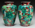 Asian:Japanese, A Pair of Japanese Cloisonné Vases with Maple Leaf Motif,attributed to the Inaba Company, circa 1920-1950. 7-1/4 incheshig... (Total: 2 Items)