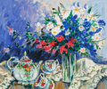 Fine Art - Painting, American:Contemporary   (1950 to present)  , Marcia Banks (American, b. 1934). Tea Set. Acrylic oncanvas. 20 x 24 inches (50.8 x 61.0 cm). Signed lower left: M.B...