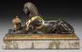 Decorative Arts, British:Other , An Egyptian Revival Partial Gilt Sphinx Inkwell on Marble Base,late 19th century. 6-5/8 h x 11-1/8 w x 4-1/4 d inches (17.0...