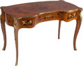Furniture , An Italian Louis XV-Style Marquetry Bureau Plat with Gilt Metal Mounts, 20th century. Marks: MADE IN ITALY. 30 h x 45-3/... (Total: 2 Items)