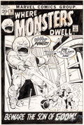 Original Comic Art:Covers, Gil Kane and Vince Colletta Where Monsters Dwell #16 Cover Original Art (Marvel, 1972)....