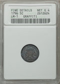 Early Half Dimes, 1796 H10C LIKERTY, V-1, LM-1, R.3, -- Graffiti -- ANACS. FineDetails, Net Good 4. NGC Census: (0/51). PCGS Population (1/5...