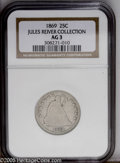 Seated Quarters: , 1869 25C AG3 NGC....