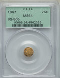 California Fractional Gold , 1867 25C Liberty Round 25 Cents, BG-805, Low R.5, MS64 PCGS. PCGSPopulation (15/13). NGC Census: (3/4). ...