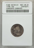 Early Dimes: , 1798 10C Large 8 -- Cleaned, Corroded -- ANACS. Fine Details NetVG8. NGC Census: (1/42). PCGS Population (0/67). Mintage: ...