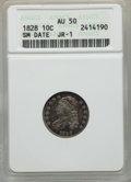 Bust Dimes, 1828 10C Small Date, Square Base 2, JR-1, R.2, AU50 ANACS. NGC Census: (0/35). PCGS Population (0/2). Mintage: 125,000. CDN...