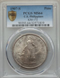 World, 1907-S Peso U.S. Philippines Peso MS64 PCGS Secure. KM-172. PCGSPopulation (12/10 and 0/0+). NGC Census: (0/0 and 0/0+)....
