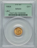 Commemorative Gold, 1904 G$1 Lewis and Clark Gold Dollar MS64 PCGS. PCGS Population(636/497). NGC Census: (395/311). Mintage: 10,025. CDN Wsl....