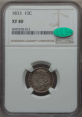 Bust Dimes: , 1833 10C XF40 NGC. CAC. NGC Census: (18/245). PCGS Population(42/325). Mintage: 485,000. CDN Wsl. Price for problem free N...