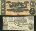 Confederate Notes:1862 Issues, T44 $1 1862 PF-3 Cr. 341. T68 $10 1864 PF-20 Cr. 546.. ... (Total:2 notes)