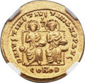 Ancients:Byzantine, Ancients: Justin I and Justinian I (AD 527). AV solidus (22mm, 4.49 gm, 6h)....