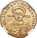 Ancients:Byzantine, Ancients: Justinian II, second reign (AD 705-711), with Tiberius. AV solidus (20mm, 4.45 gm, 6h)....