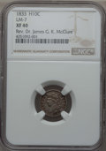 Bust Half Dimes, 1833 H10C LM-7, XF40 NGC. Ex: Rev. Dr. James G. K. McClure. NGCCensus: (1/8). PCGS Population (0/4). CDN Wsl. Price for p...