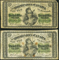 Canadian Currency: , DC-1c 25 Cents 1870, Two Examples. ... (Total: 2 notes)